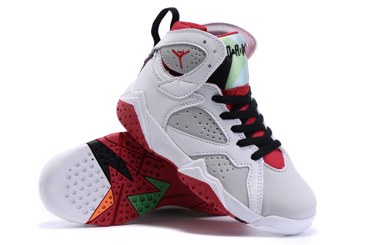 2015 Kids Jordans 7 Retro White Grey Red Black Shoes