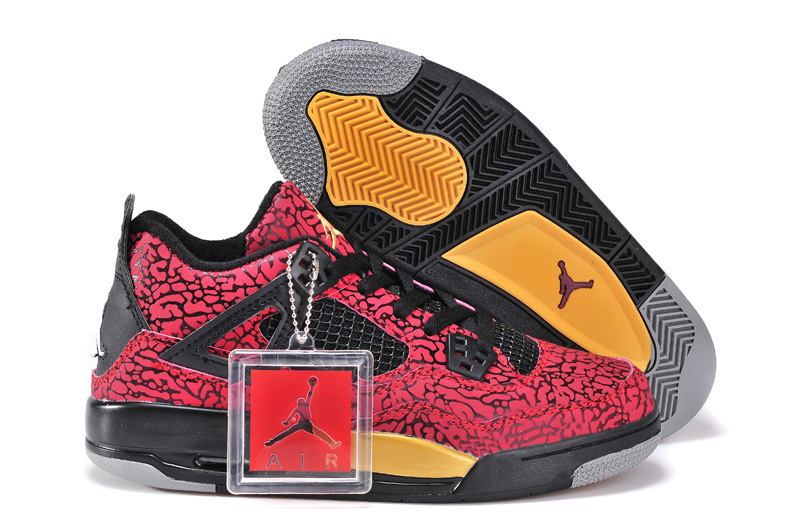 2015 Limited Jordan 4 Retro Crack Red Black Yellow For Women