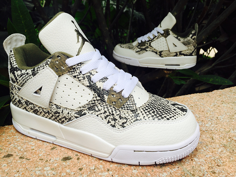 2015 Lover Jordans 4 SnakeSkin White Army Green Shoes