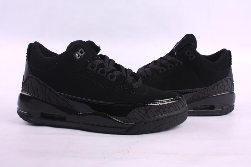 2015 New Jordans 3 Retro All Black Lover