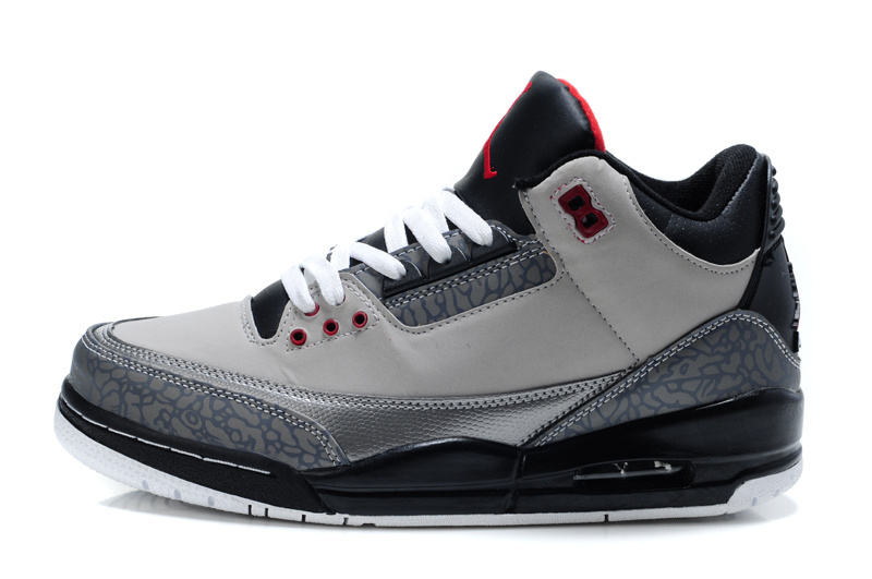 2015 New Jordans 3 Retro Grey Black Red Lover