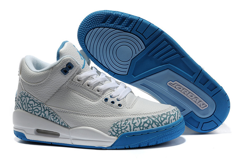 2015 New Jordans 3 Retro Grey Blue Lover