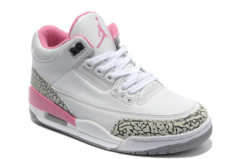 2015 New Jordans 3 Retro White Cement Grey Pink Women