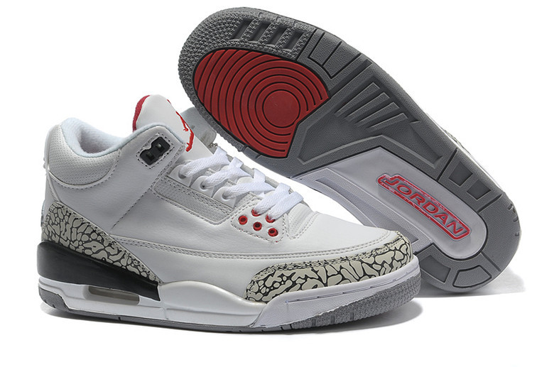 2015 New Jordans 3 Retro White Cement Grey Red Lover