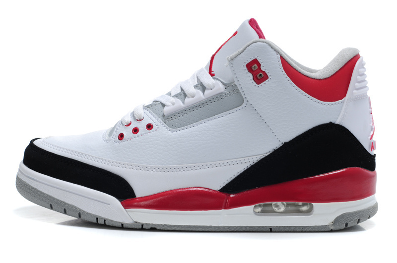 2015 New Jordans 3 Retro White Red Black Lover