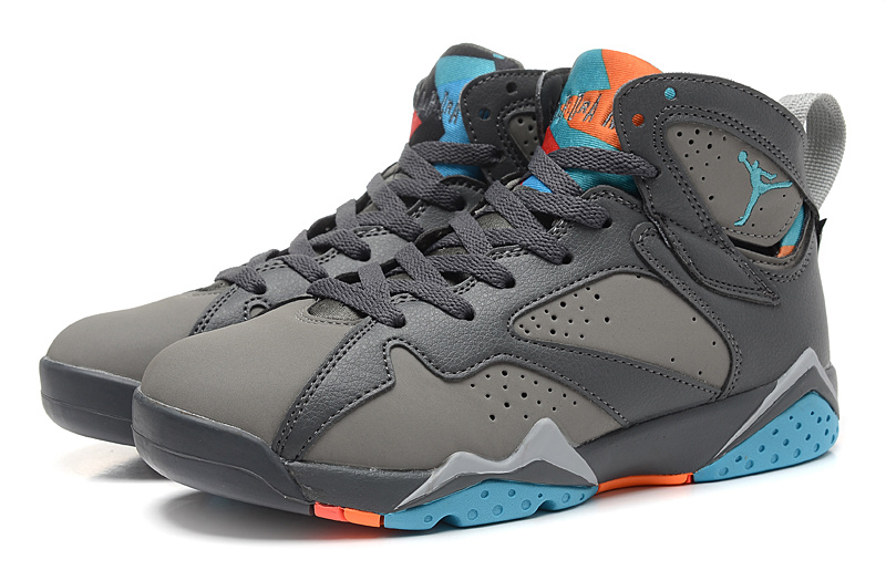 2015 New Jordans 7 Retro Grey Black Blue