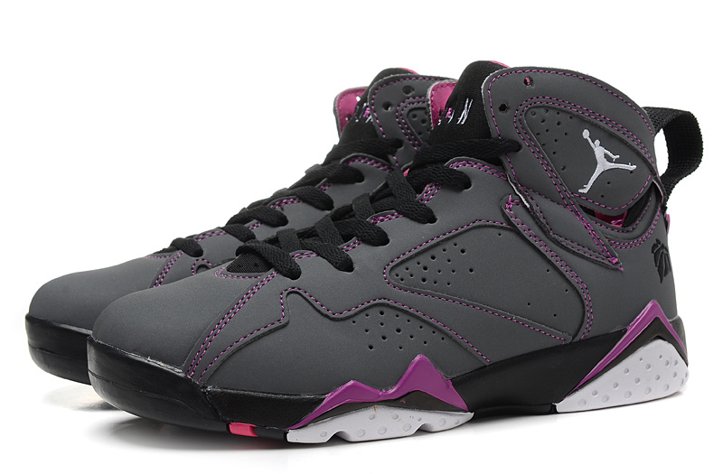 2015 New Jordans 7 Retro Grey Black Purple Women