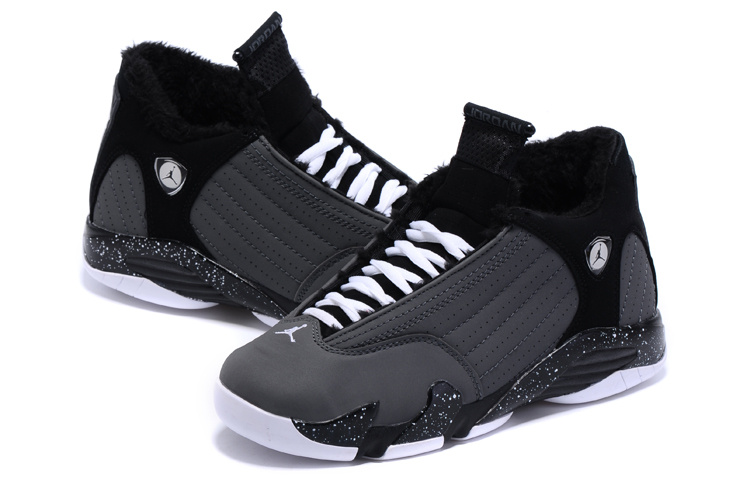 2015 New Lover Jordans 14 Retro Wool Black Grey Shoes