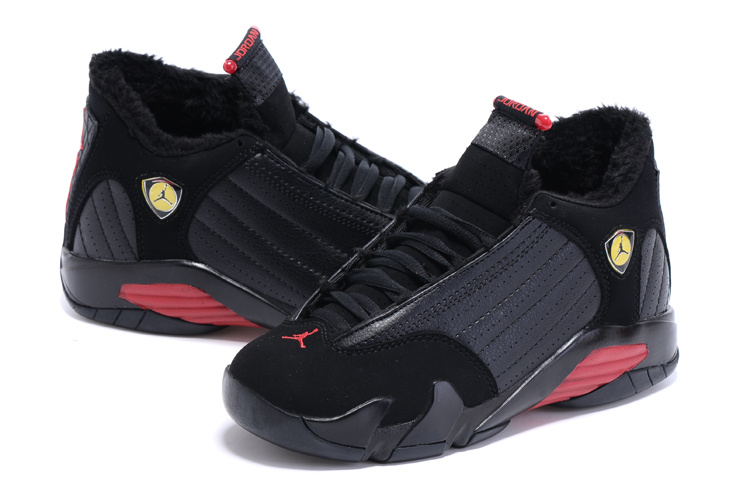 2015 Women Jordans 14 Retro Wool Black Red Shoes