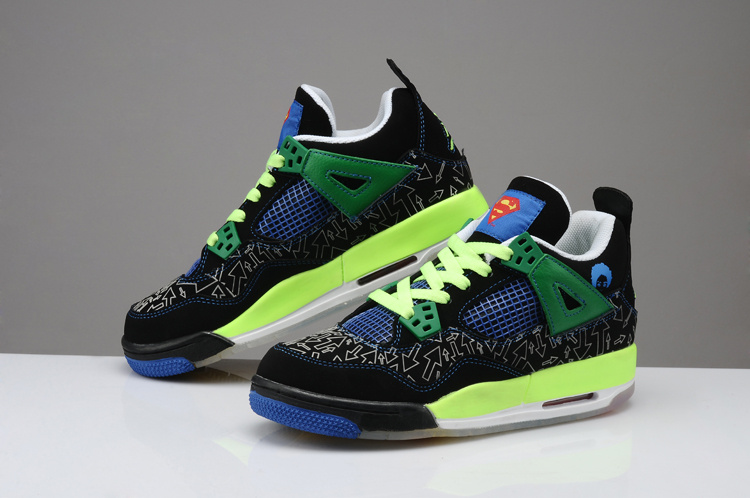 2015 New Midnight Air Jordan 4 Retro Superman Black Green Blue