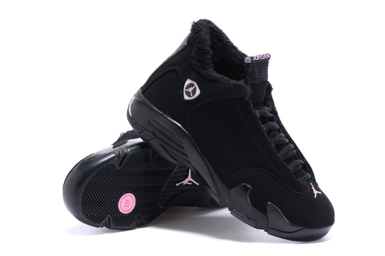 2015 New Women Jordans 14 Retro Wool All Black Shoes