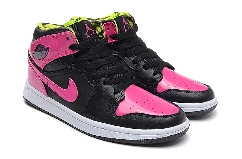 2015 Pink Black Jordans 1 Retro Phat GS Shoes