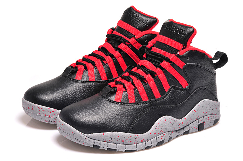 2015 Real Jordans 10 Retro Black Red Shoes