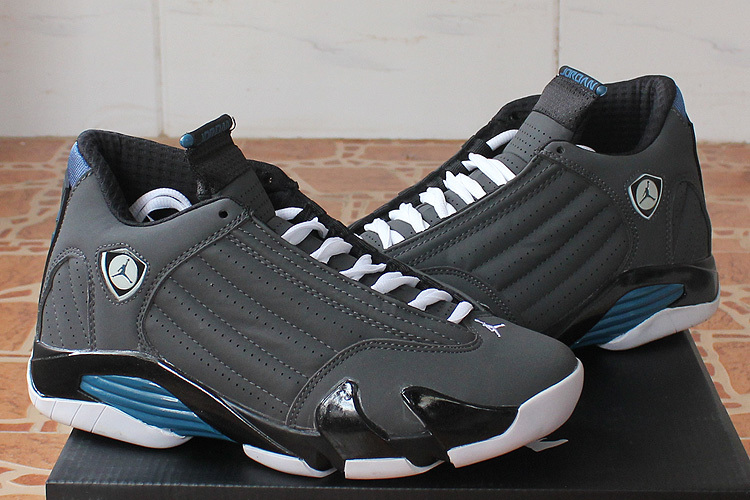 2015 Real Jordans 14 Black Grey Blue Shoes