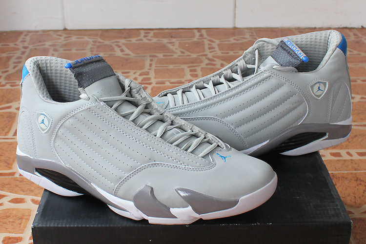 2015 Real Jordans 14 White Grey Shoes