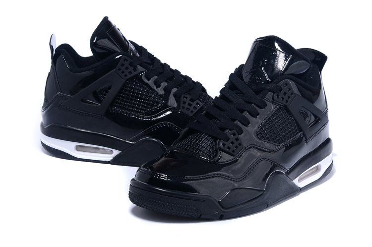 2015 Real Jordans 4 Black White Shoes