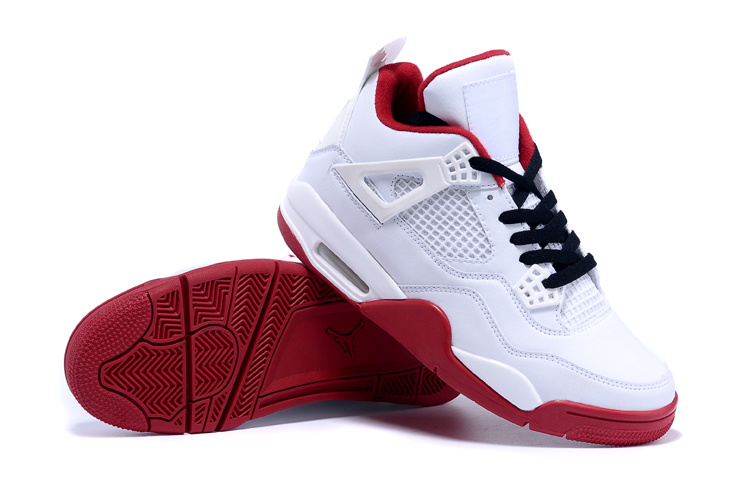 2015 Real Jordans 4 White Red Black Shoes