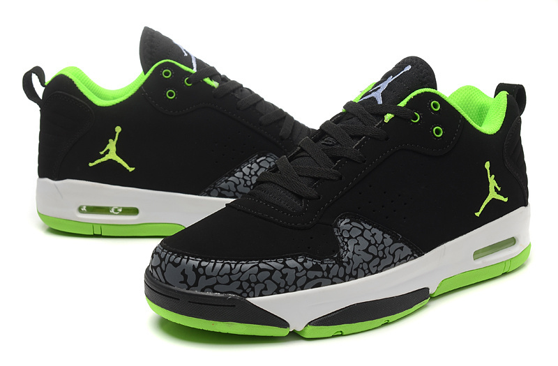 2015 Real Jordans Cement Black Green White Shoes