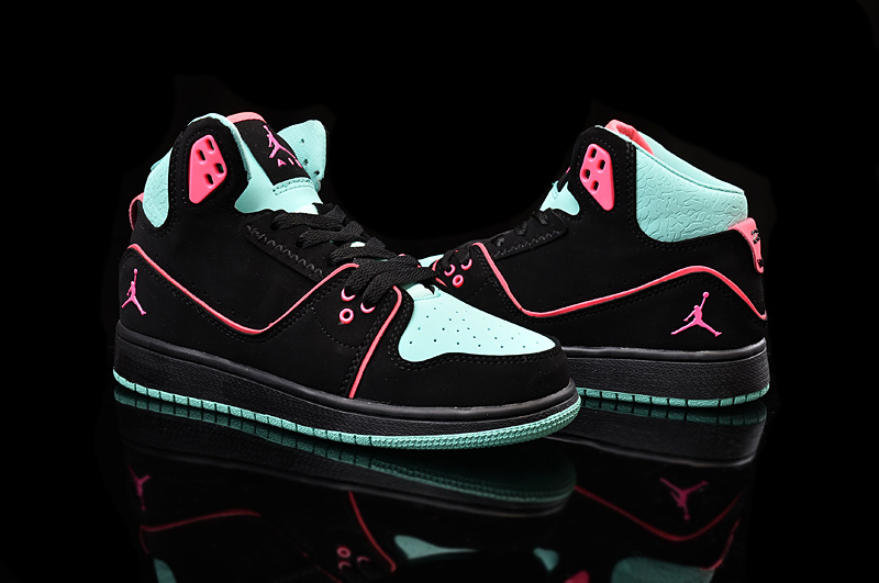 2015 Women Jordans 1 Flight 2 Black Green Pink Shoes
