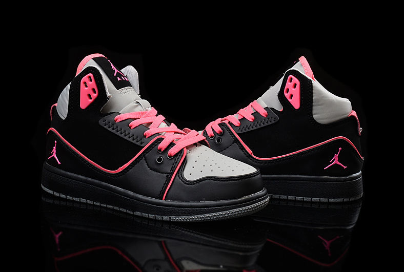 2015 Women Jordans 1 Flight 2 Black Grey Red Shoes