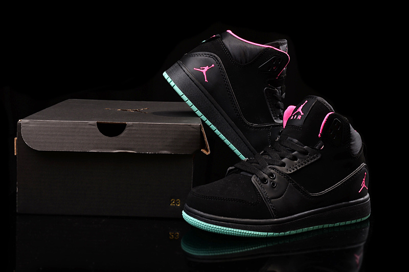 2015 Women Jordans 1 Flight 2 Black Pink Green Shoes