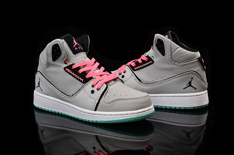 2015 Women Jordans 1 Flight 2 Grey Pink Black Shoes