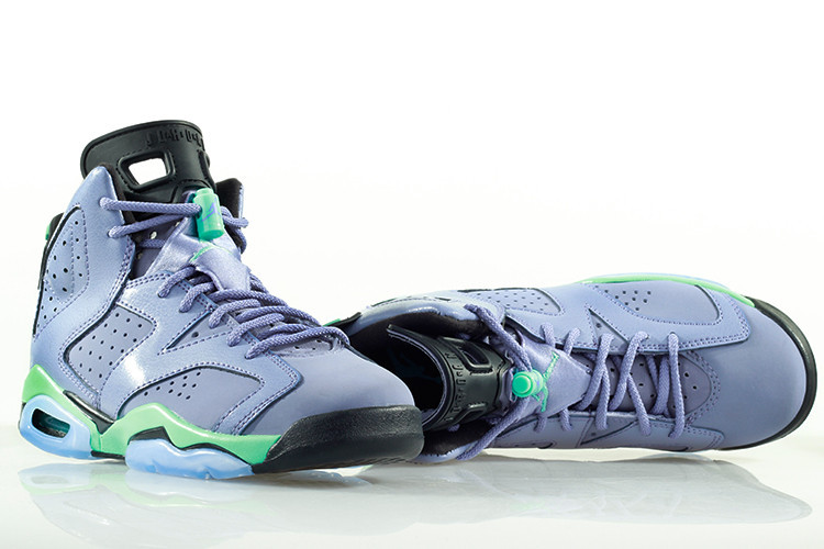 2015 Women Jordans 6 Retro Light Purple Green Black Shoes