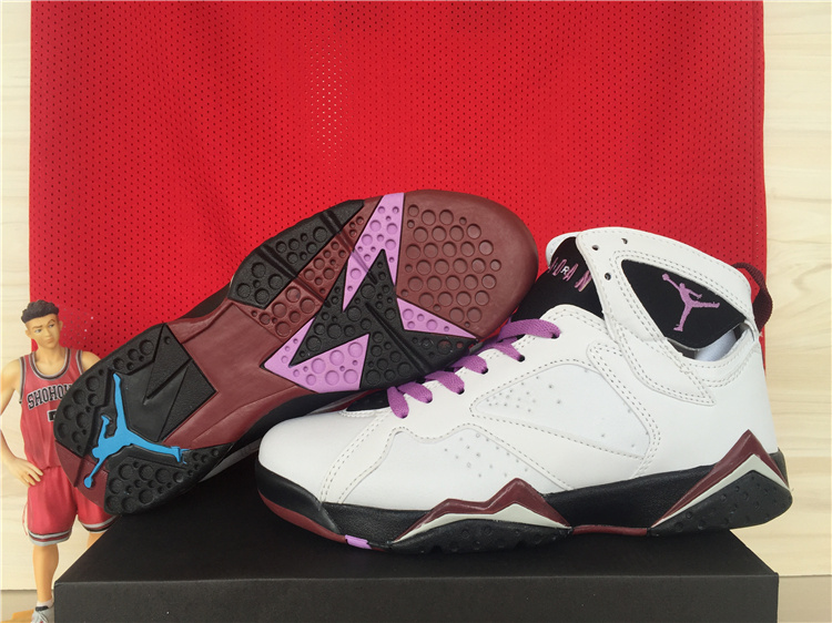 2015 Women Jordans 7 GS Fuchsia Glow White Purple Black Shoes