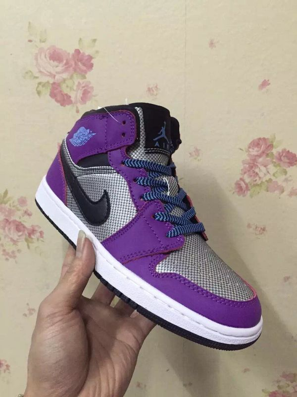 2017 Original Jordans 1 Black Purple Sliver Shoes