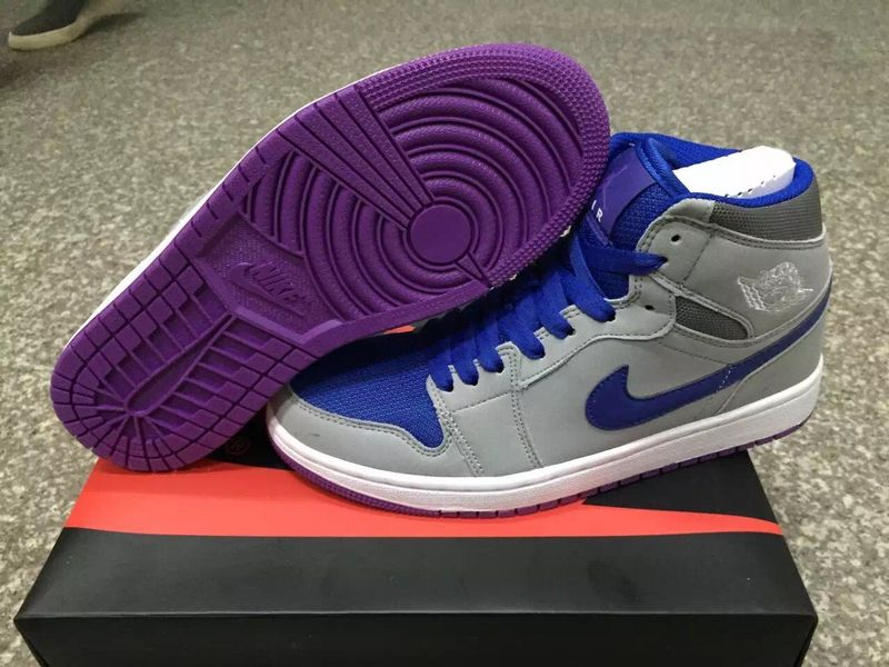 2017 Original Jordans 1 Grey Blue Purple Shoes