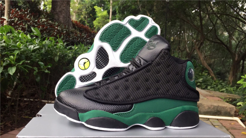 2018 Jordans 13 Black Green Real Eye Shoes
