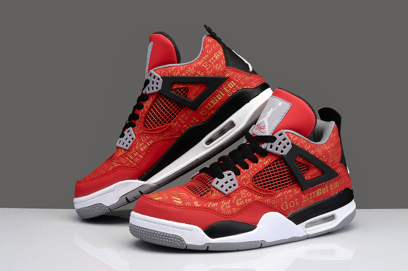 New Jordan 4 Retro Black White Red Shoes With Bulls Print