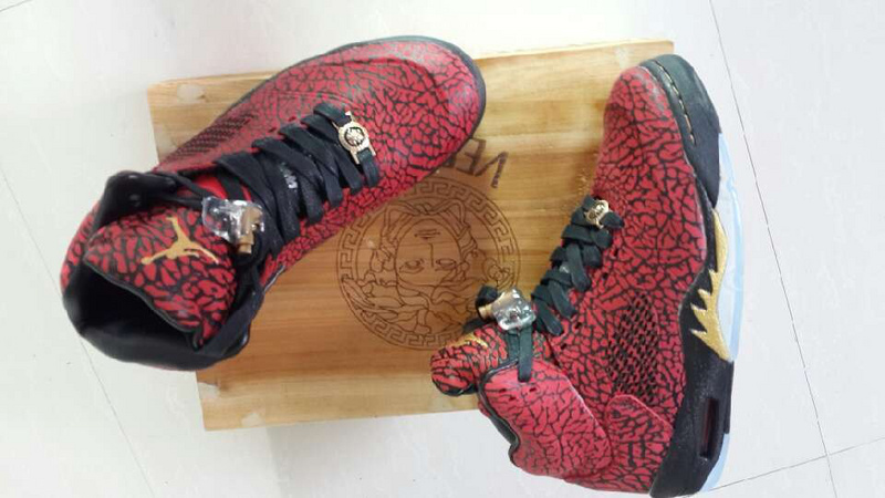 Air Jordans 5 Classic Versace Red Black