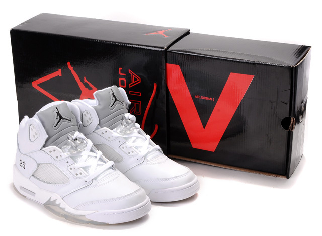 Air Jordans 5 original Hardcover Box All White_05