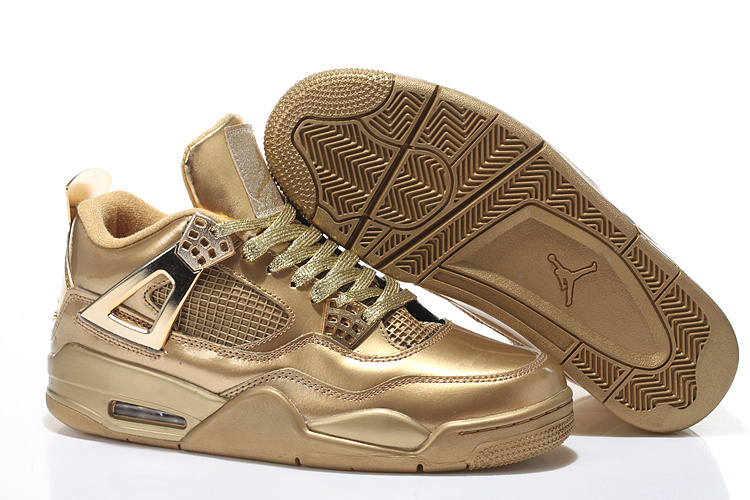 All Gold Jordans 4 Retro Shoes With Strap