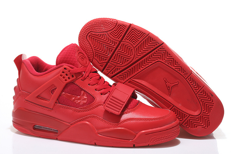 All Red Jordans 4 Retro Shoes With Strap
