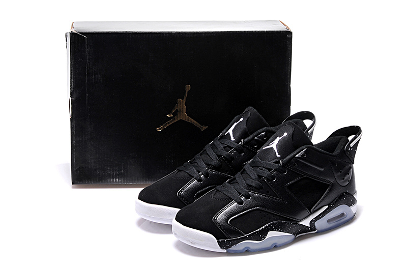 Black White Real Jordans 6 Retro Low Lovers Shoes
