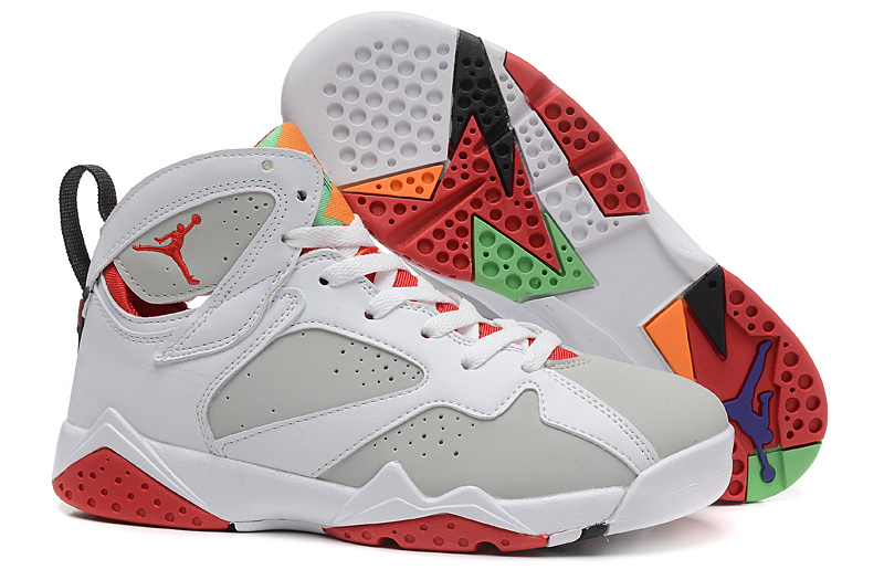Bugs Bunny Jordans 7 Retro White Grey Red For Women