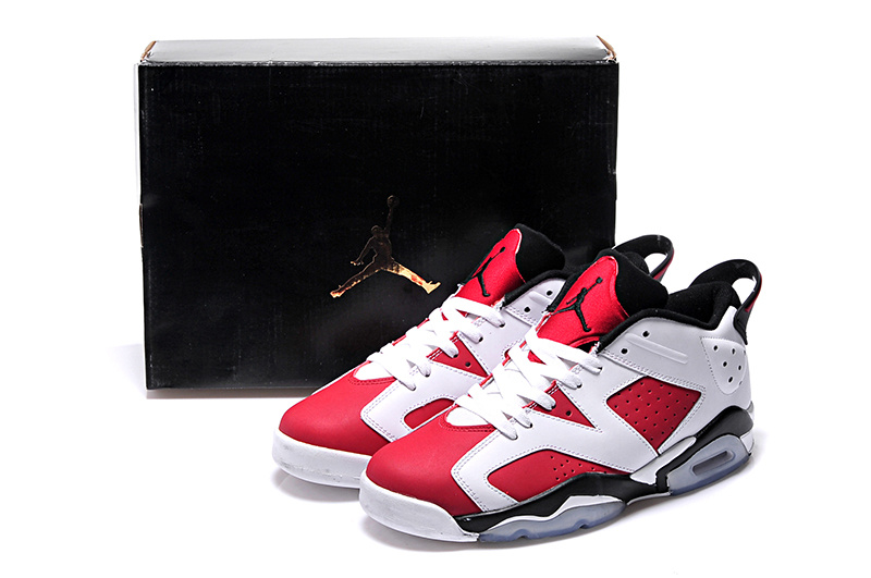 Carmine White Black Jordans 6 Retro Low Lovers Shoes