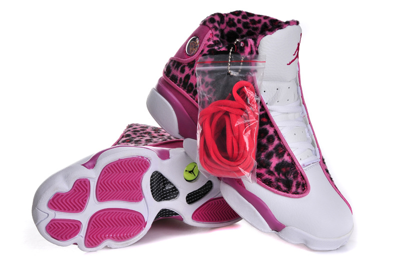 Cheetah Print Retro Jordan 13 Classic White Pink For Women