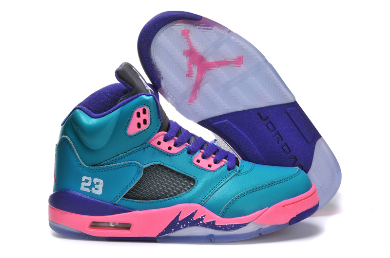 Classic Jordan 5 Original Blue Purple Pink For Women