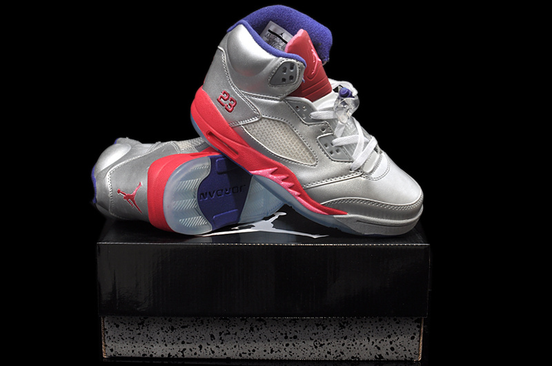 Classic Jordan 5 Original Silver Pink Purple For Women