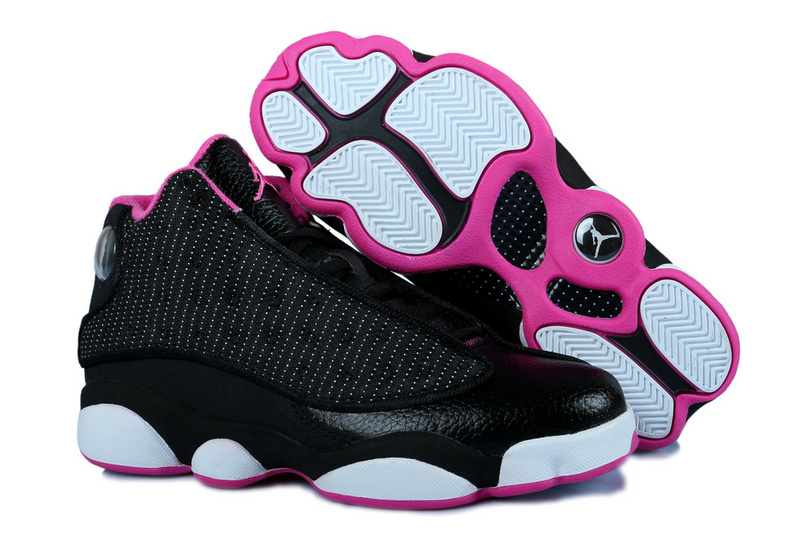 Classic Women Jordan 13 Black White Pink With Original 3D Eye And Recoil Air Cushion