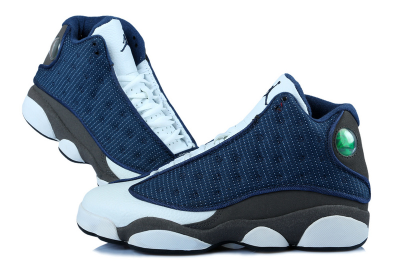 Classic Women Jordan 13 Retro Blue White Grey With 3D Eye And Recoil Air Cushion