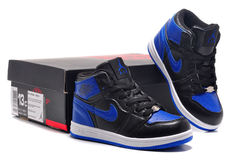 Classic Air Jordan 1 Newest Black Blue White For Kids_01