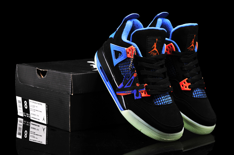 Classic Air Jordan 4 Midnigh Original Black Blue Orange For Women