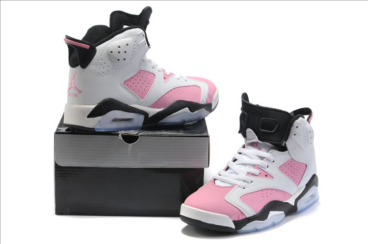 Classic Air Jordans 6 New White Pink Black For Women_06