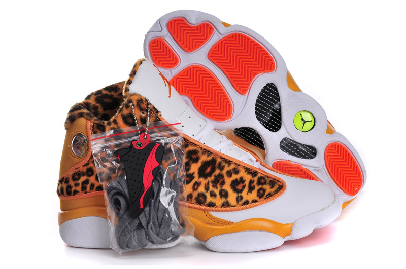Classic Cheetah Print Jordan 13 Original White Yellow For Women