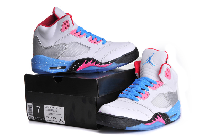 Classic Jordan 5 Miami Edition Retro White Blue Pink For Women