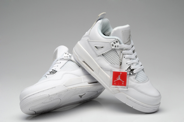 new arrival 09bfe d8470 Nike Air Jordan 4 IV Retro Womens Shoes White Grey Black
